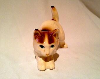 Vintage Playful Ceramic Cat Figurine Super Cute