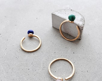 Lapis Lazuli Stoned Open Texture Ring / 14k gold vermeil or sterling silver gemstone ball stacking ring / adjustable size 5/7/9