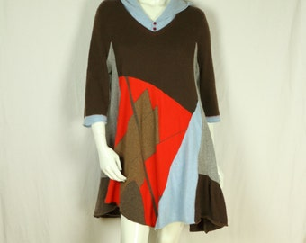 Cashmere sweater dress Plus size tunic Upcycled clothing Wool Red brown hooded dress Color block refashioned mini dress Long sleeve top