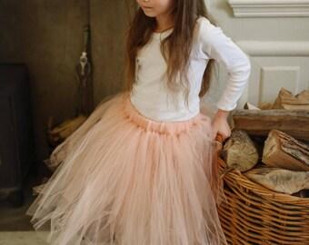 Peach Flower Girl Tutu, Tulle Skirt, Bridesmaid tutu, Ballet Tutu UK, Girls Tulle Tutu Skirt UK