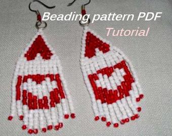 Beaded earrings. Earrings Pattern PDF. Beading Tutorial. Beading pattern PDF. Instant download.