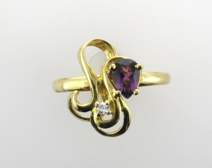 Yellow Gold Amethyst and Diamond Ring; Vintage Amethyst Ring; Pear Shaped Amethyst Ring; February Birthstone Ring