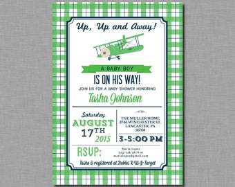 Kelly Green and Navy Airplane Baby Shower Invitation BE21 Digital or Printed
