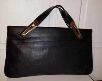 CONVERTIBLE BLACK CLUTCH // 70's Vegan Faux Leather Slim Clutch Convertible Straps Gold Hardware Mod Large