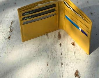 ID Wallet, Yellow Wallet, Unique Wallet, Slim Wallet, Bifold Leather Wallet, Embossed Wallet, Mens Personalized Gift, Boho Wallet