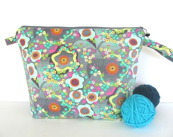 Knitting bag, zippered project bag, Yarn bowl, Knitter's Gift, Medium, Amy Butler Peace Flower Aqua on Grey