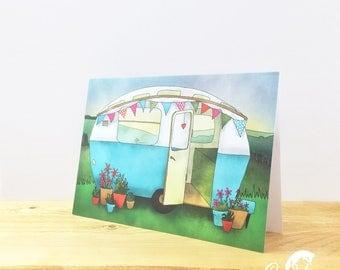 Vintage Caravan Greeting Card, Blank Card, Birthday Card, Thank You Card, Easter Card, Good Luck Card, New Home Card
