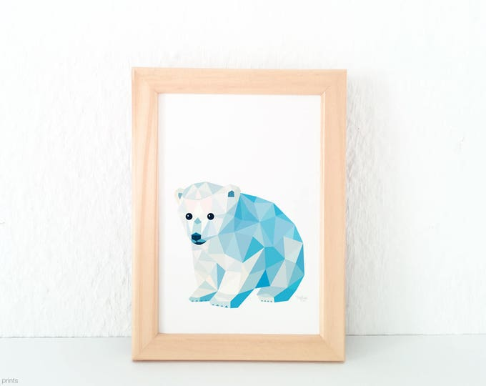 Baby bear print, Baby polar bear art, Polar bear illustration, Polar bear nursery art, Wildlife art, Baby nursery art, Geometric polar bear