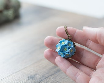 Forget me not necklace - forget me not jewelry - flower jewelry - flower pendant - botanical jewelry - flower accessory – blue flowers