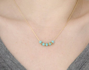 Layering necklace, Gold and turquoise necklace, Good luck necklace, Bar necklace, December birthstone necklace, Short necklace