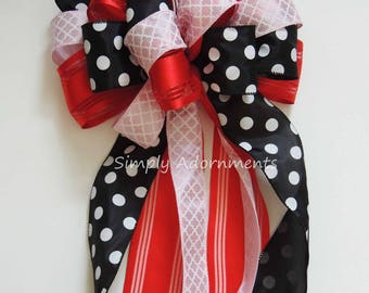 Red black Pink Wreath Bow Red Black Wedding Pew Bow LadyBug Wreath Bow Red Black Pink Party Decoration Black Red Pink Birthday Party Decor