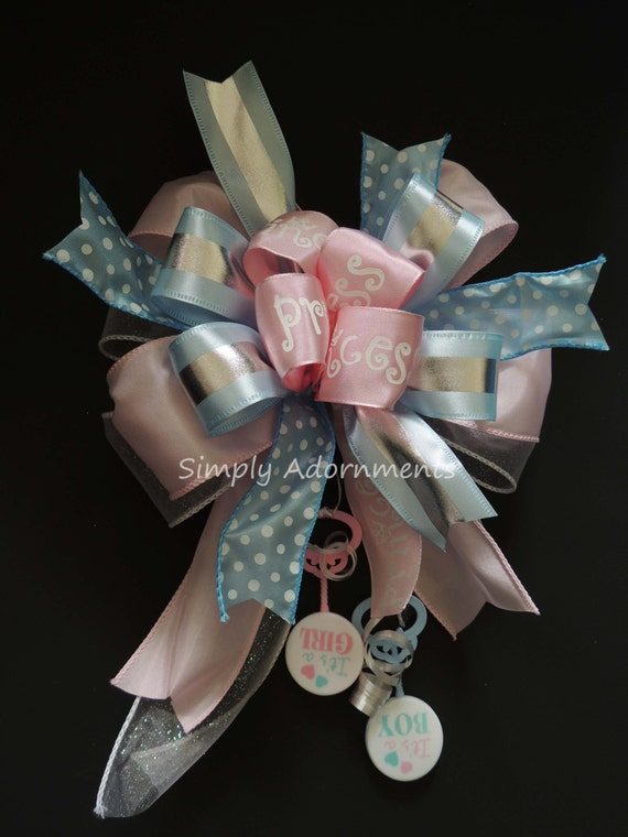 Blue Pink Baby Shower Gender Reveal Bow Boy or Girl Shower Gift Bow Gender Reveal Party Decor Baby Shower Gift Bow Gender Reveal Gift Bow