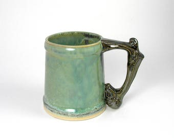 Beer Stein Large Mug Ram Handle in Copper Green and Silver Palladium