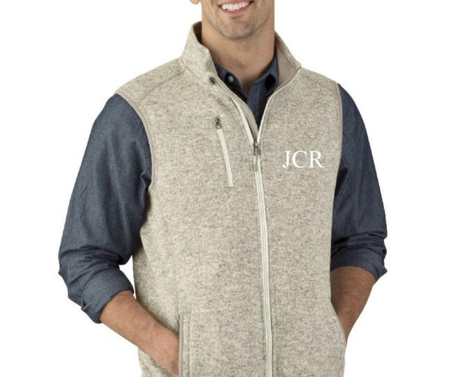 Men's Monogrammed Vest, Guy's Monogrammed Vest, Charles River Apparel Men's Pacific Heathered Vest, His and Hers, Honeymoon, Gift for him