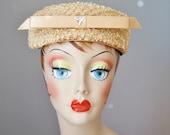 Straw Pancake Hat / Vtg 6...