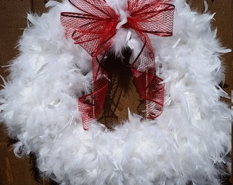 Red Bow with White Feathers Christmas Wreath