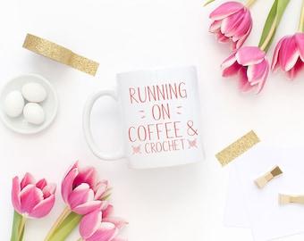Coffee and Crochet, Crochet Mug, Crochet Gift, Gift for Crocheter, Loves Crochet, Cute Coffee Mug, Cute Mugs, Gift for Her, Gift for Grandma
