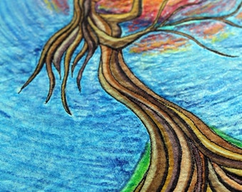 Tree Woman; art quilt on canvas, home decor