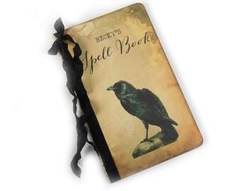Custom Spell Book, Raven Notebook, Halloween Journal, Personalized Samhain Diary