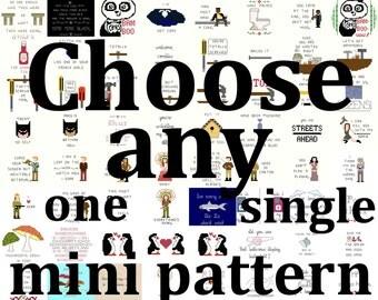Cross Stitch Patterns -- One single mini pattern of your choice