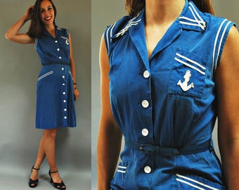 1940s Ocean Blue Button Down Sailor Dress w Anchor Patch