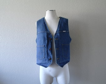 Vintage Wrangler Denim Vest – Fleece Lined Denim Vest – Mens Vest – Womens Vest – Made in USA – Classic Blue Wash - Mens S - Womens M/L