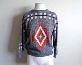 Vintage 80s Aztec Sweater - Mens Sweater - Womens Sweater - Geometric Sweater - Tribal Print - Knit - Made USA - Mens XS/S - Womens S/M
