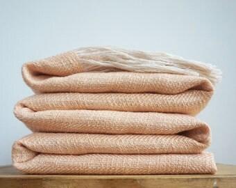 Peach Linen Throw Blanket, Natural Bedspread Sofa Cover Organic Fibers, Large banket, Pastel throw blanket