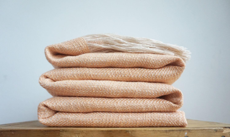 Peach Linen Throw Blanket Natural Bedspread Sofa Cover
