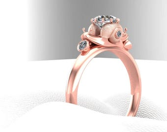 Double Snail Engagement Ring with Half Carat Diamond Center in 14k  Gold