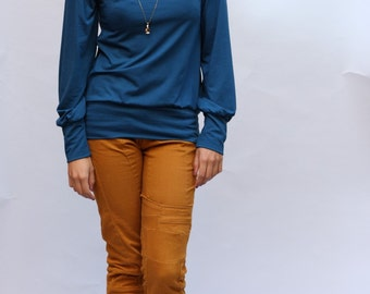 Turtleneck longsleeve blouse, petrol, petrol sweater, cotton sweaters, Mandarin collar sweaters, turtleneck sweater, Teal sweater, blouse