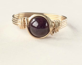 Garnet Ring, Gold wire wrapped garnet ring, Garnet wire wrapped ring, Gemstone ring
