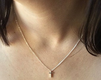 Sterling silver petite cross necklace -  simple cross bead necklace