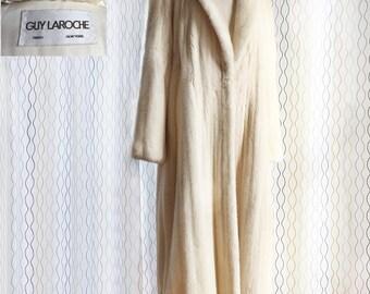 Guy Laroche vintage cream mink coat/ designer mink coat/ real fur coat/ champagne pearl mink/ 1980s/ genuine mink coat/ haute couture fur
