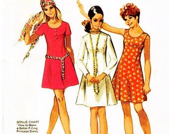 "1970 Petite Princess Seam Dress, Jewel or Scoop Neck, 3 Sleeve Options, Bonus Sewing Lesson, Simplicity 8885, Size YJT 15/16, Bust 35"" Uncut"