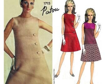 "1967 Designer Patou Vogue Paris Original 1715, Sleeveless Couture A-line Dress, Use for Color Blocking, Asymmetrical Button Detail, Bust 32"""