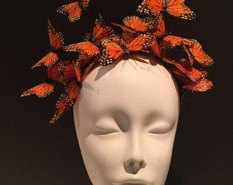 Orange Butterfly Headpiece- Derby Hat- Butterfly Headdress- Derby- Kentucky Derby- Orange Hat- Monarch -Orange Fascinator- Cocktail Hat