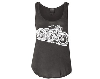 NEW Womens Vintage MOTORCYCLE Tank/ Motorcycle Shirt/ Motorcycle T-shirt/ Seventies Racer Tank More Colors S M L