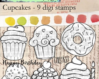 Cupcakes - 9 digi stamps available for instant download