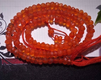 "1-2 or 5 strands Natural Carnelian 4 mm Faceted Rondelle Beads,Grade AA, 13"" long strand"