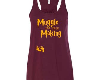 Harry Potter Maternity Raceback Tank / Muggle in the Making / Harry Potter Pregnancy Shirt / Harry Potter Pregnancy Announcement Shirt