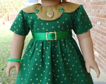 """18"""" Doll Clothes 1930's Style Christmas / Holiday Green Dress Fits American Girl Kit, Ruthie"""