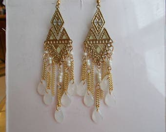Gold Tone Chandelier Chain Earrings with White Teardrop and White Beads Dangles
