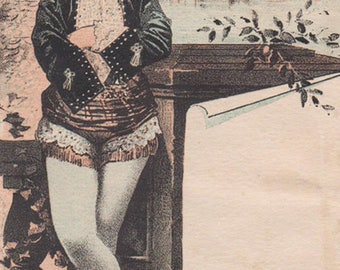 Lady In Blue Tights Standing By A River Victorian Album Card