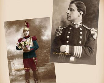 Handsome Captain - French Soldier - 2 New 4x6 Vintage Image Photo Prints GE02-03