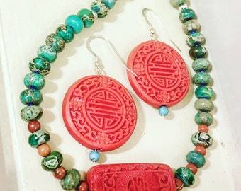 Royal Cinnabar Necklace and Earring Set