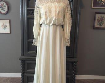 70s Casual Victorian Revival Wedding Dress