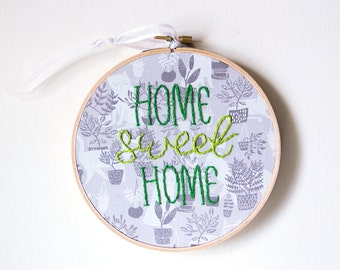 Home Sweet Home Embroidery, Hand-stitched embroidery, Hoop Art, Handmade, Housewarming, Welcome Sign, Cats and Plants, Textile Wall Hanging