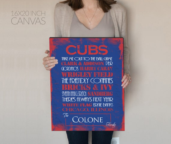 Personalized Chicago Cubs Print or Canvas. Mens Personalized. Chicago Cubs. 2016 world series. chicago cubs 2016. wrigley field canvas. cubs