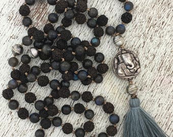 Rudraksha Mala Prayer Bead Necklace with Blue Kyanite and Silver Ganesh Amulet